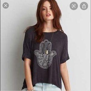 AE soft & sexy hamsa hand gray tee shirt top gray